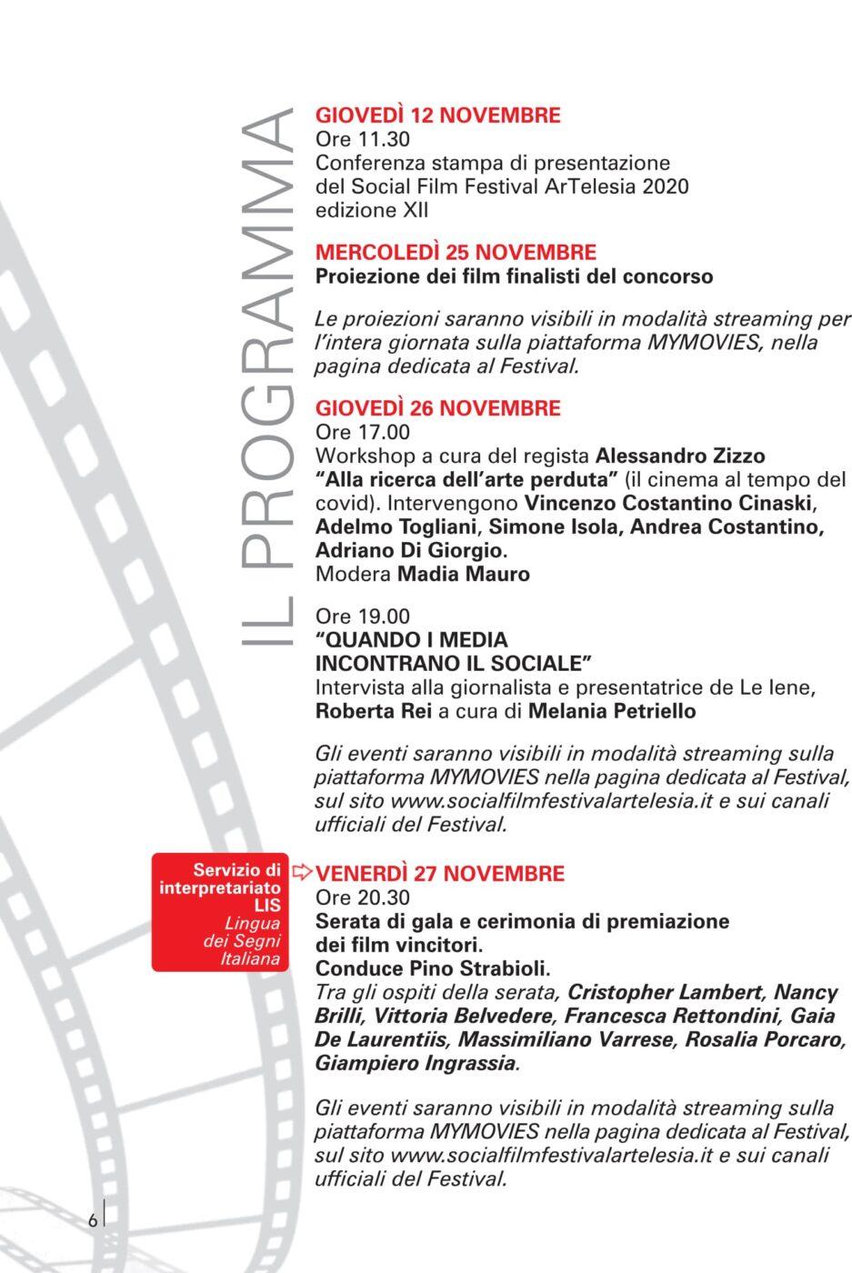 Programma del Social Film Festival ArTelesia 2020